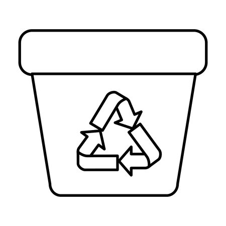 garbage pot with recycle arrows symbol vector illustration design