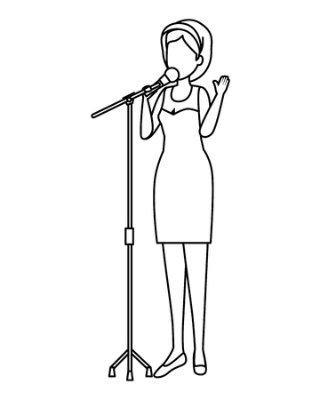 woman singing with microphone vector illustration design
