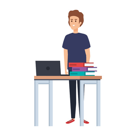 young teacher in desk with laptop and books vector illustration design 向量圖像