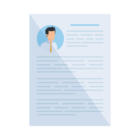 male curriculum vitae document vector illustration design