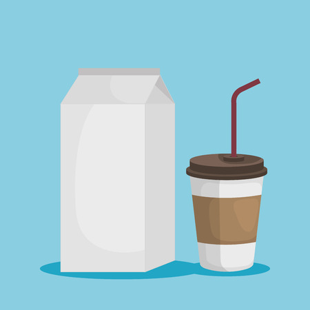 set milk box with toxic plastic cup vector illustration