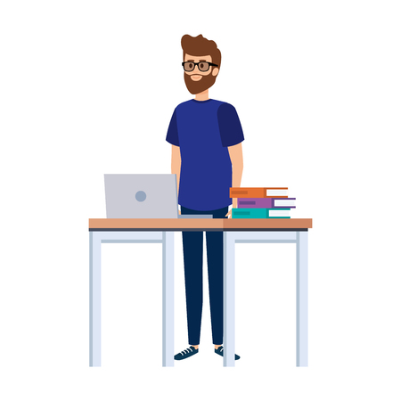 young teacher in desk with laptop and books vector illustration design Ilustração