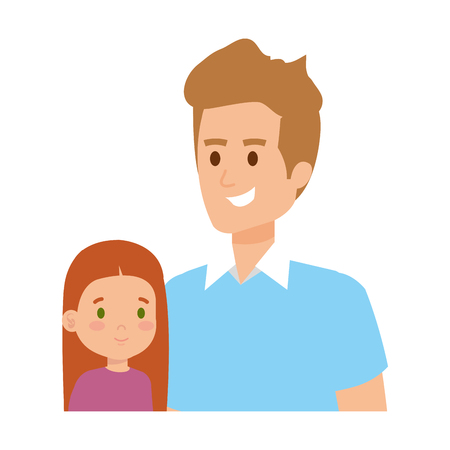 father with daughter characters vector illustration design Illustration