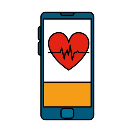 smartphone with heart cardio health app vector illustration design