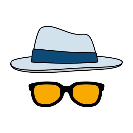 summer sunglasses with elegant hat vector illustration design Stock Vector - 122313654