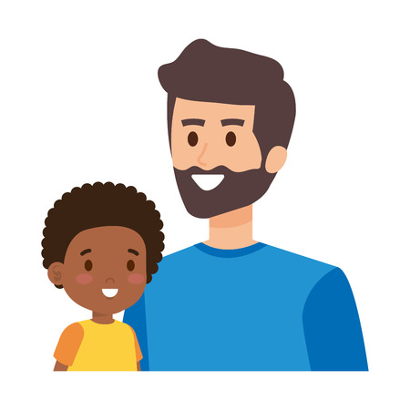 young father with afro son characters vector illustration design