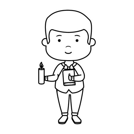 little boy with bible and candle first communion vector illustration design