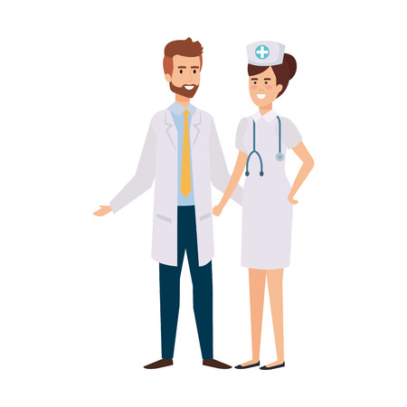 couple of professionals doctor and nurse characters vector illustration design Stock Vector - 122326261