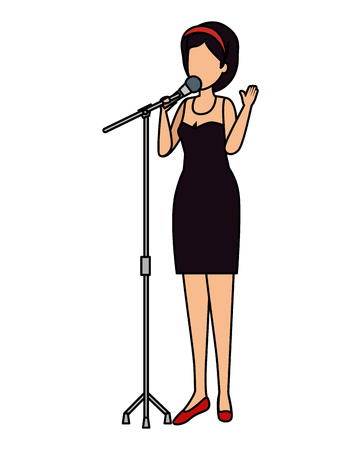 woman singing with microphone vector illustration design Foto de archivo - 122326269