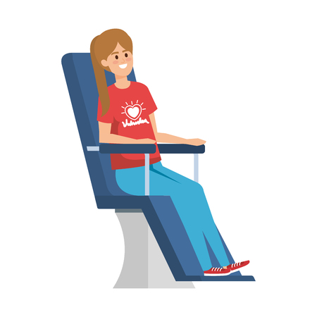 young woman volunteer in donation chair vector illustration design