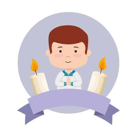 little boy with ribbon and candles first communion vector illustration design