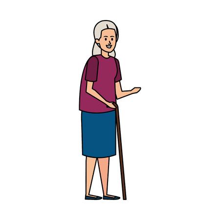 old woman with cane character vector illustration design Ilustração