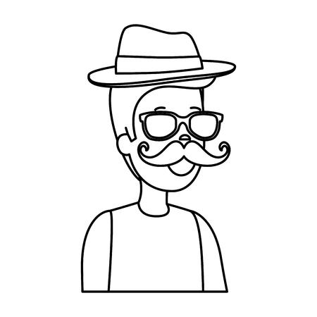 hipster man with sunglasses and elegant hat vector illustration design Illustration