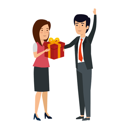 young business couple with gift box vector illustration design