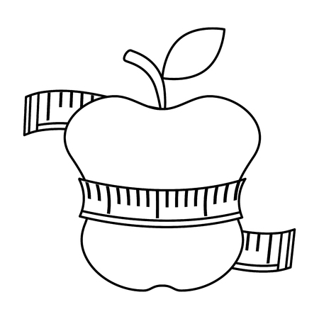 taśma miernicza z projektem ilustracji wektorowych owoców jabłka