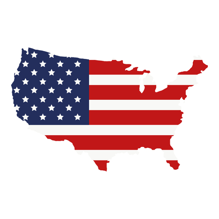 map with united states of america flag vector illustration design