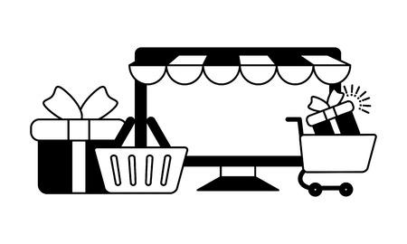 online shopping computer basket gift cart vector illustration