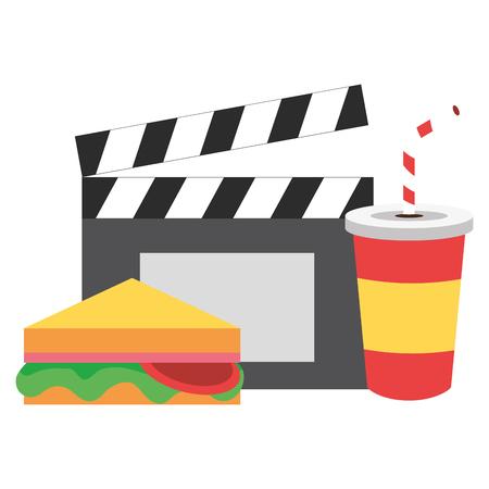 cinema sandwich soda clapboard fast food vector illustration design Banque d'images - 122342445
