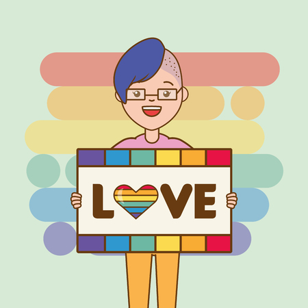 woman with board lgbt pride vector illustration