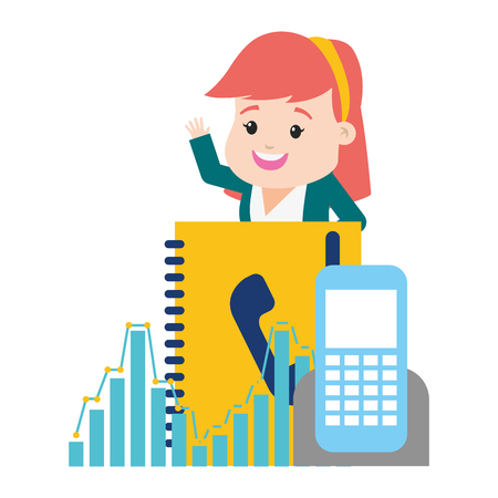 businesswoman mobile contact book online payment vector illustration