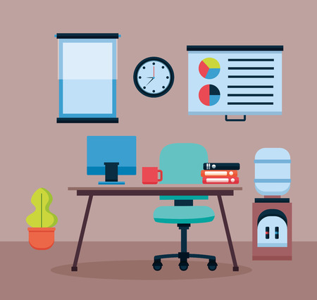 office interior workplace furniture vector illustration design