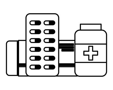 medical medicine pharmacy packaging capsule bottle vector illustration