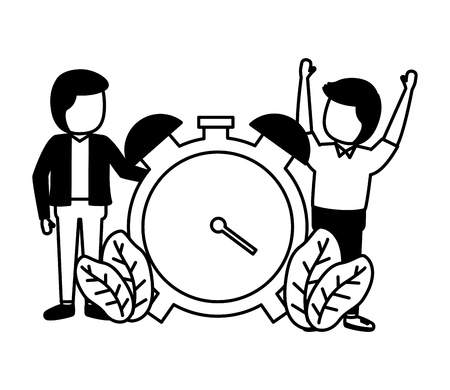 businessmen clock time on white background vector illustration