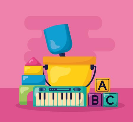 kids toys bucket shovel piano cubes castle puzzles vector illustration Stockfoto - 122365138