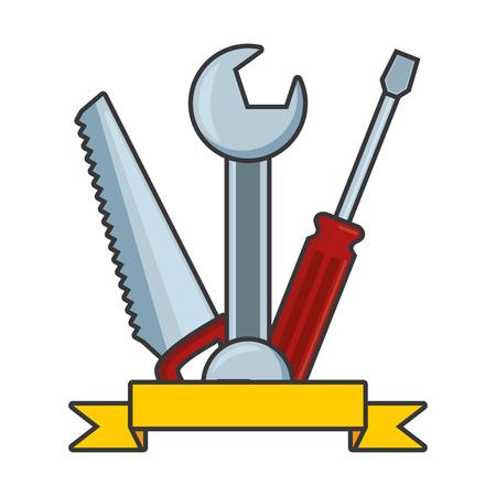 wrench screwdriver saw tool construction vector illustration Banco de Imagens - 122365292