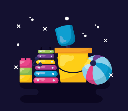 kids toys bucket shovel ball  xylophone blocks black background vector illustration