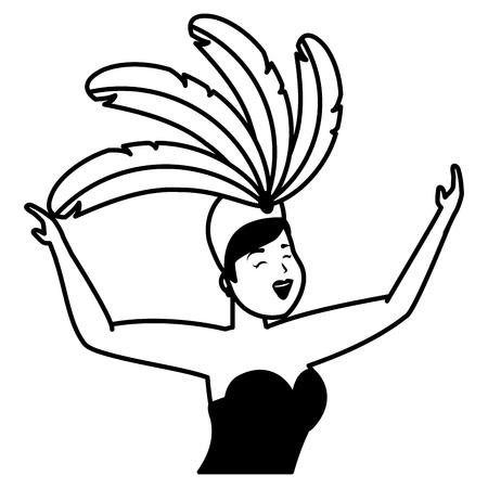 dancer with feather costume brazil carnival celebration vector illustration Illustration