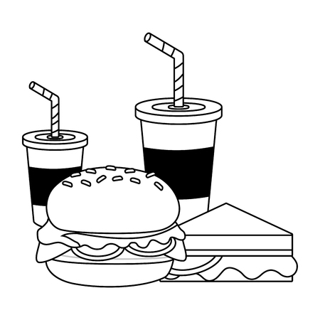 burger and sandwich with soda cups vector illustration design