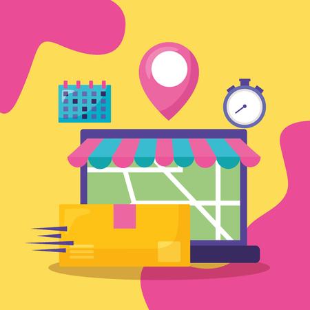laptop calendar map navigation pointer fast delivery business vector illustration