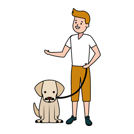 boy with his dog domestic vector illustration Фото со стока - 122402145