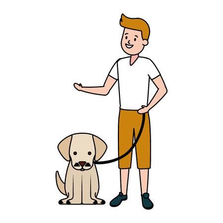 garçon avec son chien domestique illustration vectorielle Vecteurs