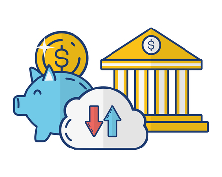 piggy bank bank cloud storage money online payment vector illustration