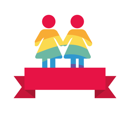 couple colors rainbow lgbt pride love vector illustration Stock Vector - 122423607