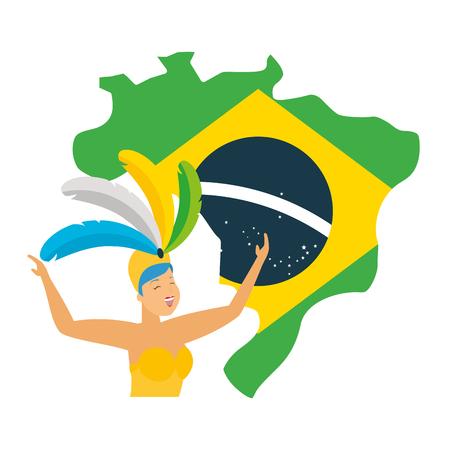 dancers exotic feathers flag map brazil carnival vector illustration Illustration