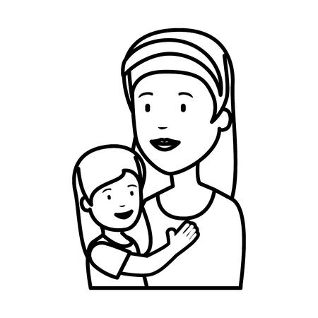 beautiful mother lifting daughter vector illustration design