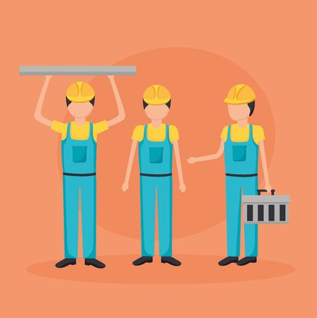workers construction equipment blueprint toolbox vector illustration