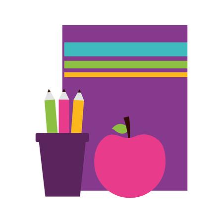 book apple pencils teachers day card vector illustration  イラスト・ベクター素材