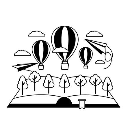 world book day reading travel vector illustration