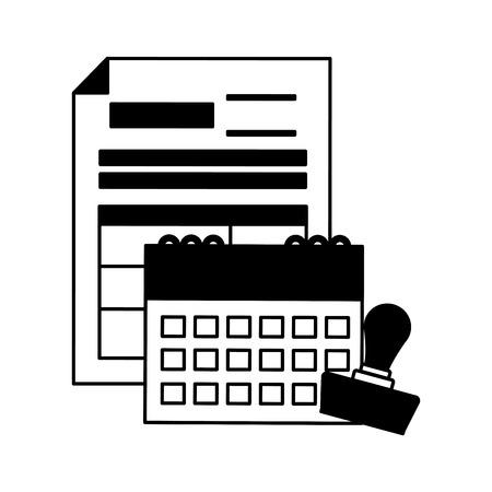 calendar report paid stamp tax payment vector illustration Çizim