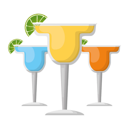 cocktails drink liquor slice lime vector illustration