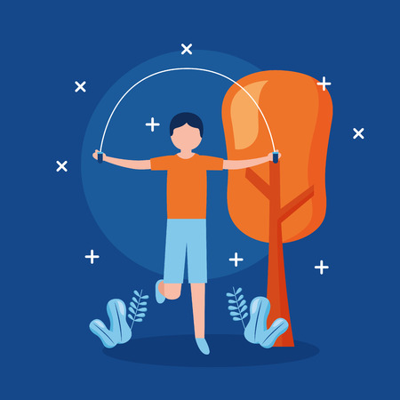 sporty man jumping rope outdoors world health day vector illustration