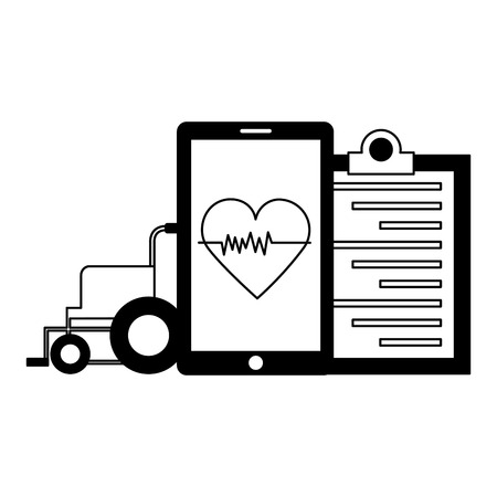 medical smartphone wheelchair clipboard heart app vector illustration Ilustracja