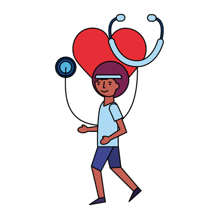 man running sport heart medical stethoscope vector illustration