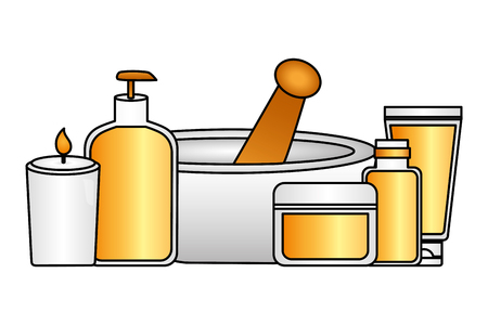 aromatherapy products care skin spa treatment therapy vector illustration Stock Illustratie