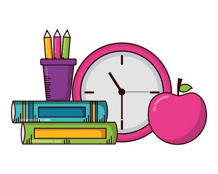 school clock apple books supplies vector illustration design Ilustração