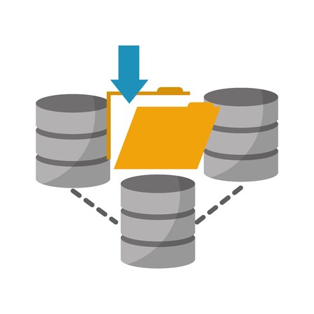 data center disks with folder isolated icon vector illustration design Illustration